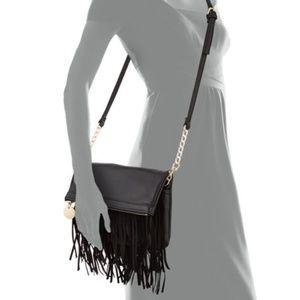 DEUX LUX  Fringe Fold-Over Crossbody Bag in Black